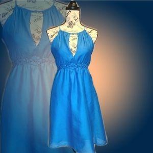 Poetry Blue Peep Hole Jeweled Empire Waist Dress